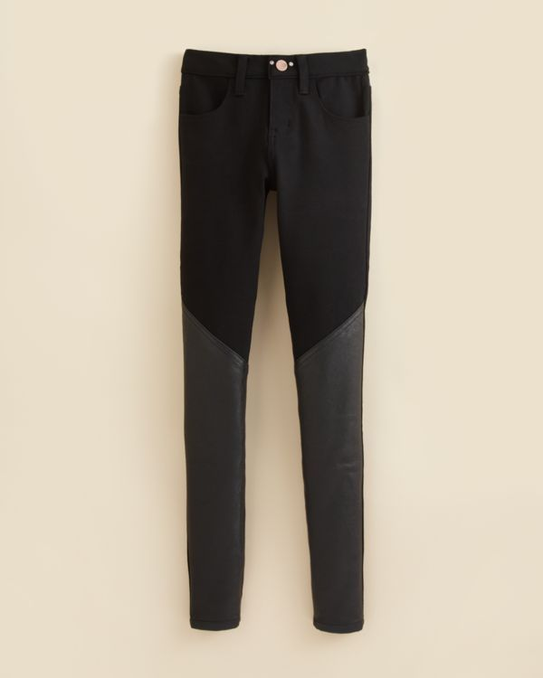 Aqua Girls' Ponte & Faux Leather Pants - Sizes 7-16