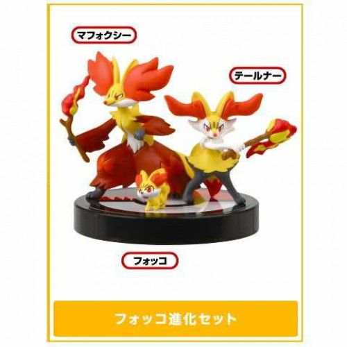 Pokemon 2014 Zukan 1/40 Scale Mini Figure Set #XY02 Fennekin Braixen Delphox