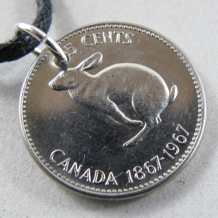 CANADIAN RABBIT coin NECKLACE pendant centennial  hare easter bunny 5 cent nickel 1967  . Year of the Rabbit No.00765