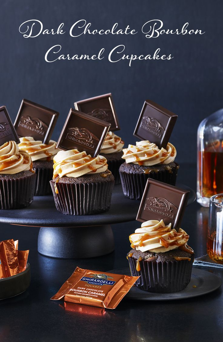 It's all about chocolate and caramel with these decadent cupcakes. Chocolate & caramel chip cupcakes are topped with a caramel cream cheese frosting, drizzled with our caramel sauce and finished with our Dark Chocolate Bourbon Caramel SQUARES.
