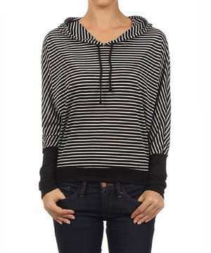 This All Occasion Style Black & White Stripe Hoodie by All Occasion Style is perfect! #zulilyfinds