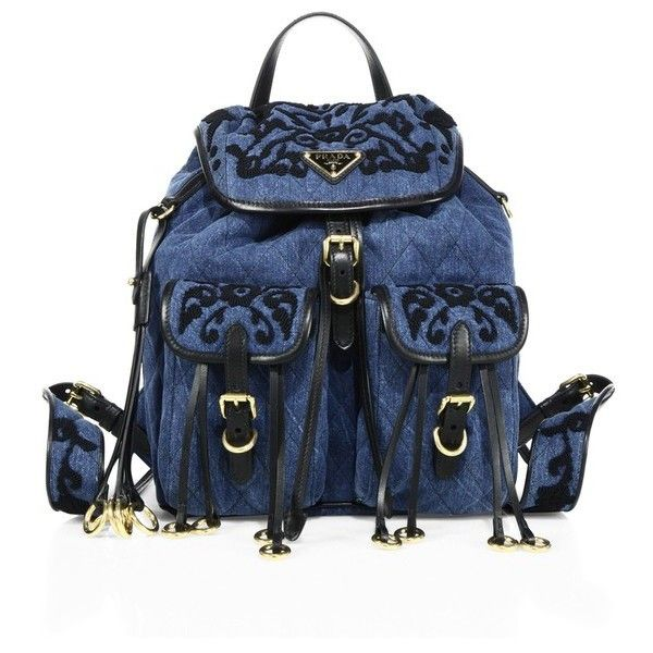 Prada Embroidered Denim Backpack (€2.140) ❤ liked on Polyvore featuring bags, backpacks, blue, buckle flap backpack, prada rucksack, rucksack bags, magnetic bag and embroidered bag