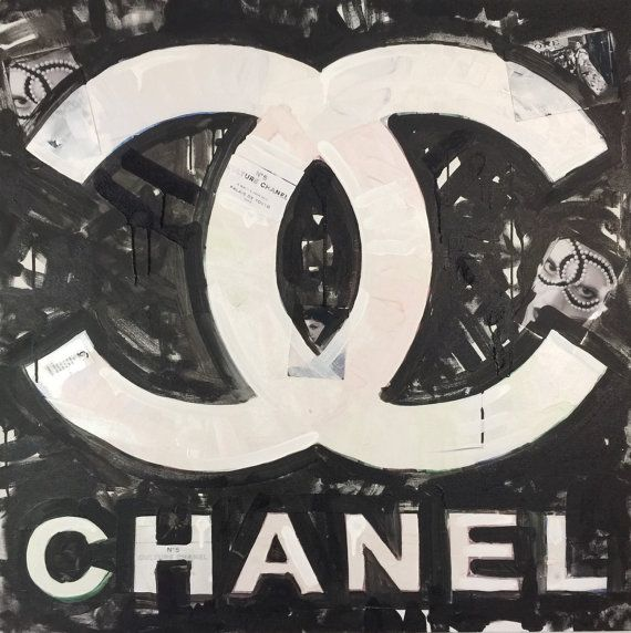 Large Wall Art Collage Pop Art Painting Coco Chanel Art Coco Chanel Logo 36x36 Acrylic Painting Fashion Wall Decor Home Decor Gifts for Her