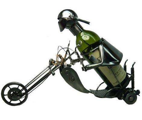Metal Wine Bottle Holder- Motorcyclist