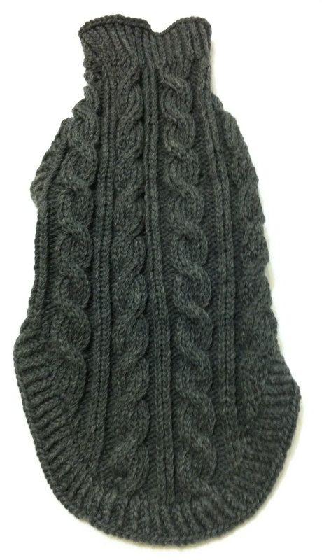 Aran clásico suéter de perro en Quiltsy carbón hecho a mano de