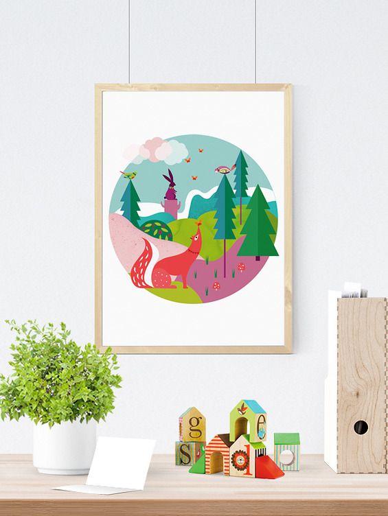 czarodziejski las II - Printlove - grafiki do wnętrz, ilustracje dla dzieci, plakaty. -