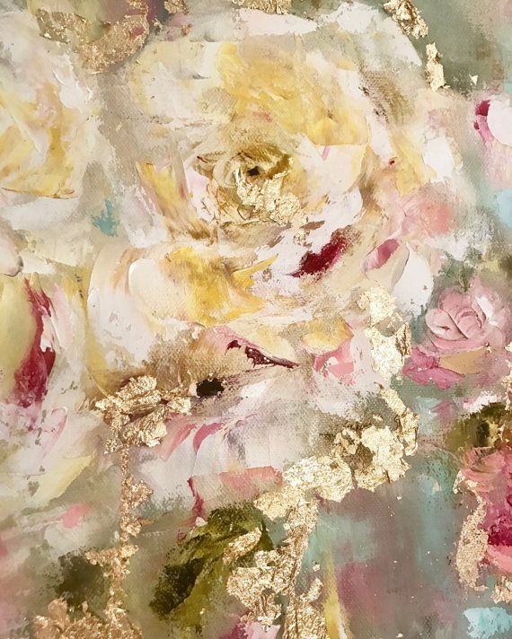 Roses, rose garden, english garden, vintage roses, oil painting, rose gold, gold leaf, fine art, by artist Amy Abig. Visit amyabig.com or my Etsy shop. Charlotte's Garden by ElizaGraceFineArt on Etsy