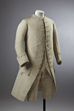 Man's cream silk wedding suit, 18th century, part of the costume collection at Ham House, Surrey