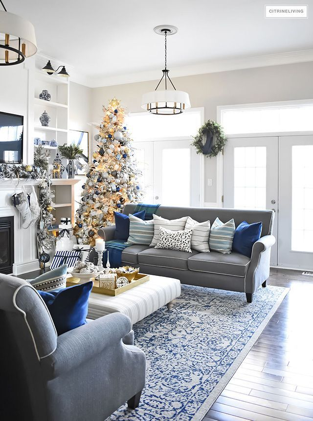 Christmas Home Tour Living Room With Blue White And Gold Blue And Gold Living Room Silver Living Room Christmas Living Rooms