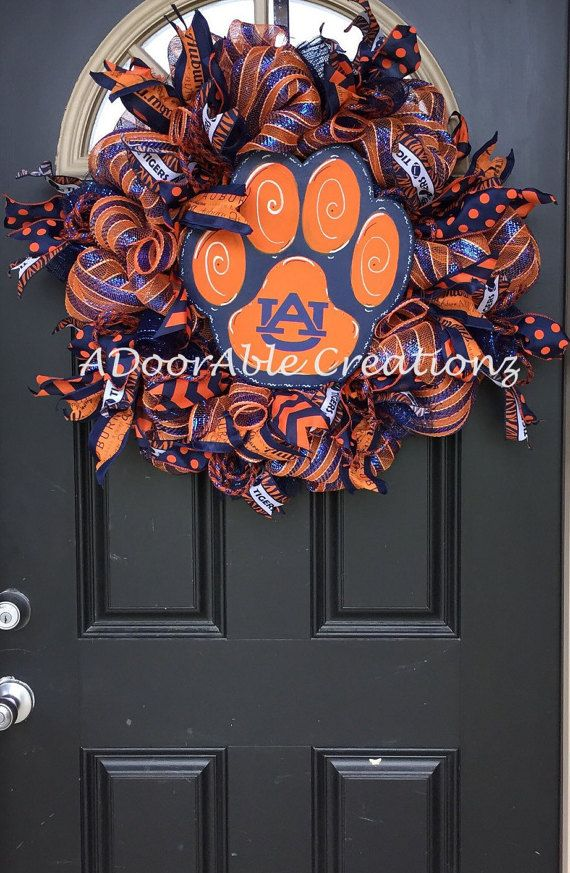 Auburn Wreath Auburn Tiger Deco Mesh Wreath by ADoorAbleCreationz