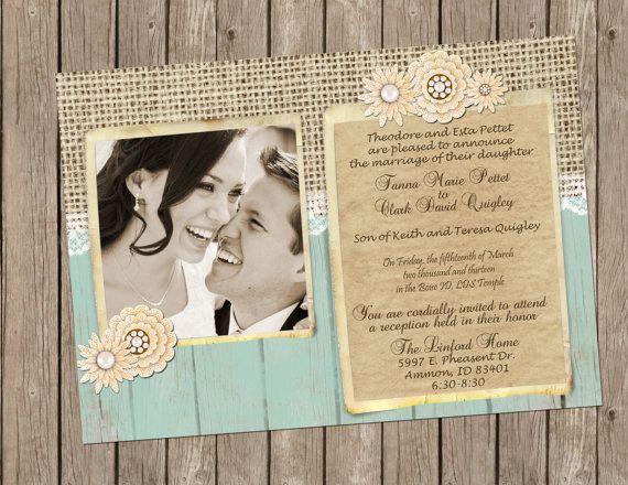 Rustic Wedding Invitation, burlap, lace, vintage brooch, Digital file, Printable on Etsy, $15.00