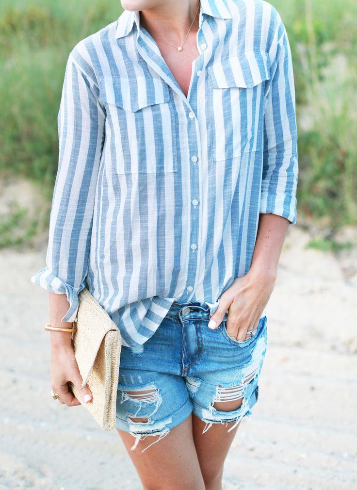 striped shirt, denim cut offs