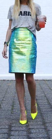 Reflective Skirt + Neon Heels