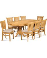 """Dinette Dining Room Table Set 42""""x78"""" with 18"""" Leaf, Oak Finish, 9 Piece, Micro"""