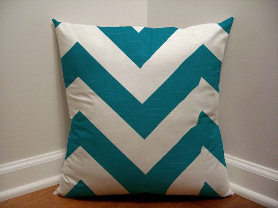 18 x 18 Teal Chevron Slub Designer Pillow Cover by BixbyBasil, $18.00
