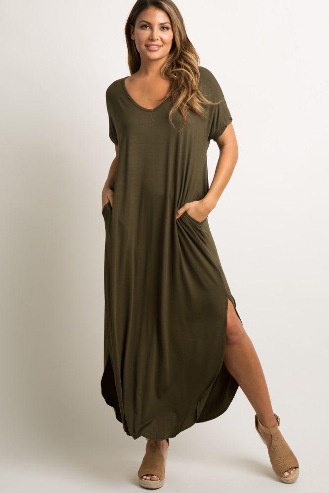 61c2ce319a3 Green Short Sleeve Maxi Dress