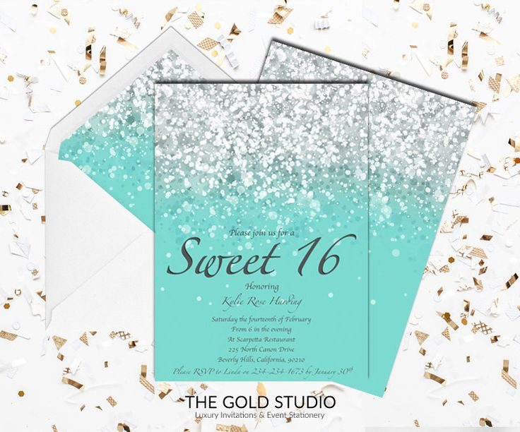 24 best sweet 16 invitations images on pinterest sweet 16 printable blue teal sweet 16 invitation sweet sixteen print at home glitter invite birthday mac or pc word or pages instant download stopboris Images