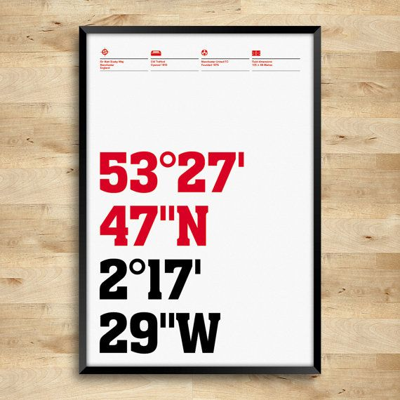 Made for supporters of Manchester United Football Club, this is a typography poster marking the geographic location of Old Trafford stadium.  All prints