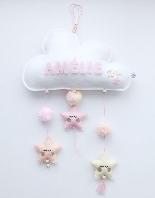 Naam mobiel Wolk & Sterren -geel perzik roze Naam baby mobiel wolk met sleepy eyes sterretjes, in geel, perzik en roze, gemaakt van 100% wolvilt. De naam op het wolkje kan je zelf bepalen. Het kan ook een leuk woord zijn! Zo ontstaat een mooi uniek baby mobiel die ter decoratie in bijvoorbeeld de kinderkamer kan worden opgehangen. Leuk als kraamcadeau!