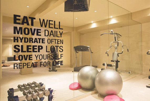 Large Eat Well Move Daily Hydrate Often Motivational Decal for Gym Space, Dorm or Mirror