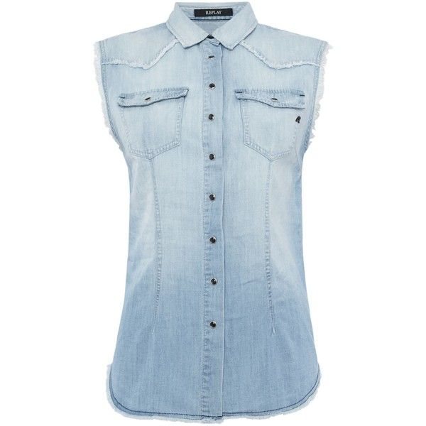 Replay Sleeveless denim shirt ($93) ❤ liked on Polyvore featuring tops, clearance, light blue, fringe shirts, light blue top, light blue denim shirt, denim shirt and round top