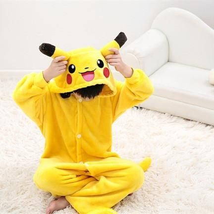 New kids pikachu pajamas Anime Pocket Monster costume Carton Animal onesies for boys/girls cosplay pajamas children sleepwear