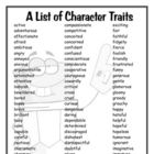 A list of character traits to help students come up with ideas for their stories