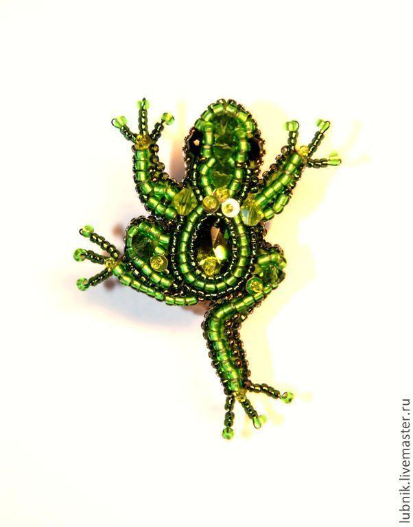 """Купить Кольцо и брошь """"Лягушонок"""" - зелёный, кольцо, колечко, лягушка, лягушонок, бисер, бисер японский"""