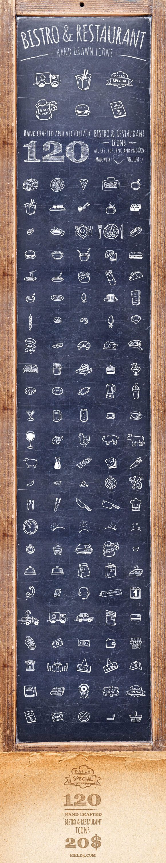 120 high quality, hand drawn and vectorized Bistro & Restaurant icons for all you foodies.Package contains ai, eps, pdf, png and png@2x for retina screens   There's more!  ...