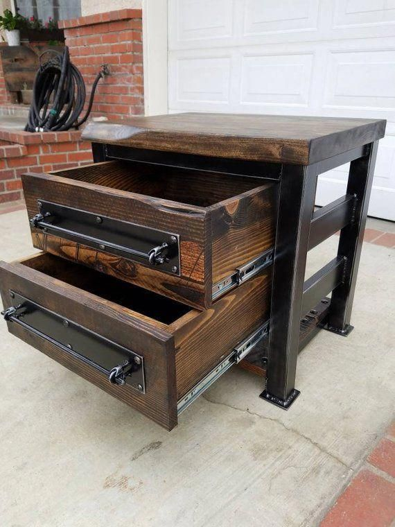 Vintage Industrial Reclaimed Night Stand End Table Etsy