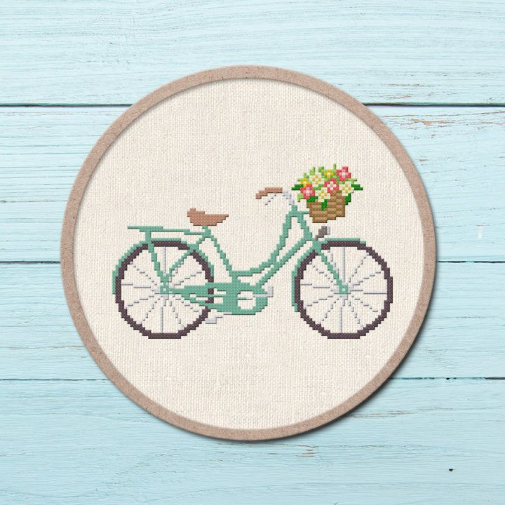 Embroidery Kit with Pattern DIY Cross Stitch Crafts for Starter Flower Bicycle