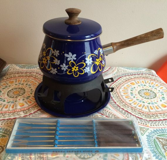 Vintage 1970's Blue Flower Pattern Fondue Pot With Still In The Package Fondue Forks