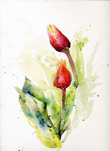 17 best images about watercolor on pinterest watercolors for Spring flowers watercolor