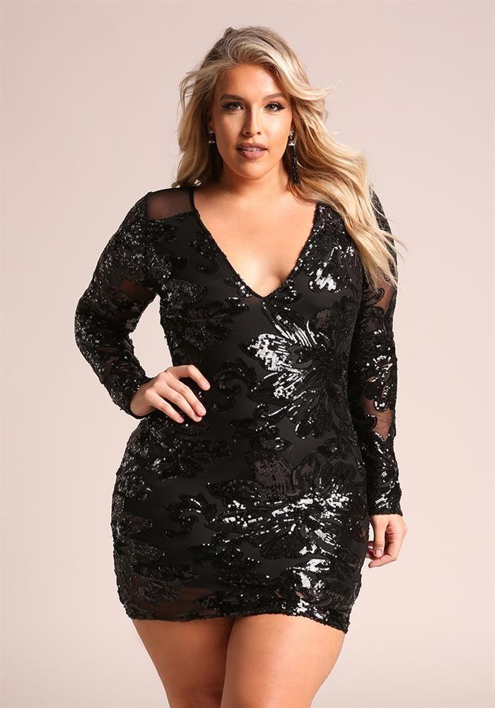 Plus Size Clothing | Plus Size Sequin Mesh Plunge Bodycon Dress | Debshops