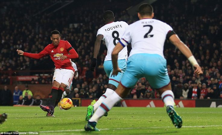 Anthony Martial scored two of Manchester United's four goals as they made it to the EFL Cup semi-finals