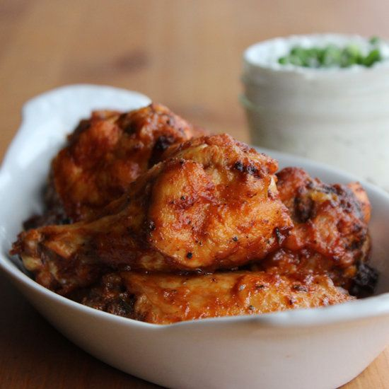Your Healthy Super Bowl Spread: Baked Buffalo Wings: Between all the butter and frying, many recipes for buffalo wings boast as many as 800 calories per serving.