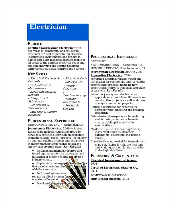 electrician resume template free word excel pdf documents sample journeyman