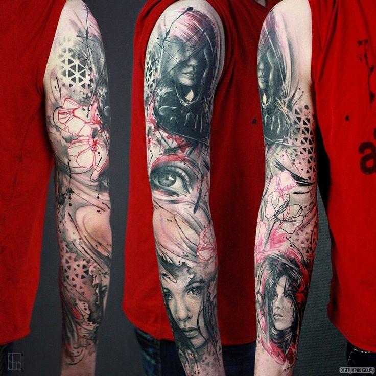 Фотография татуировки под названием «Глаз, девушки, цветы, рукав»