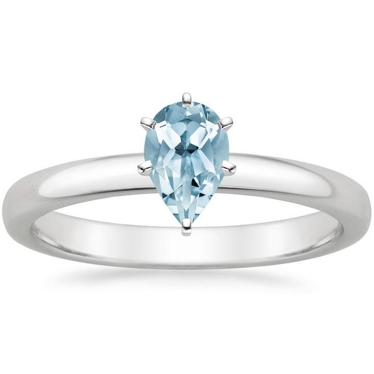 Aquamarine 2.5mm Comfort Fit Engagement Ring - 18K White Gold