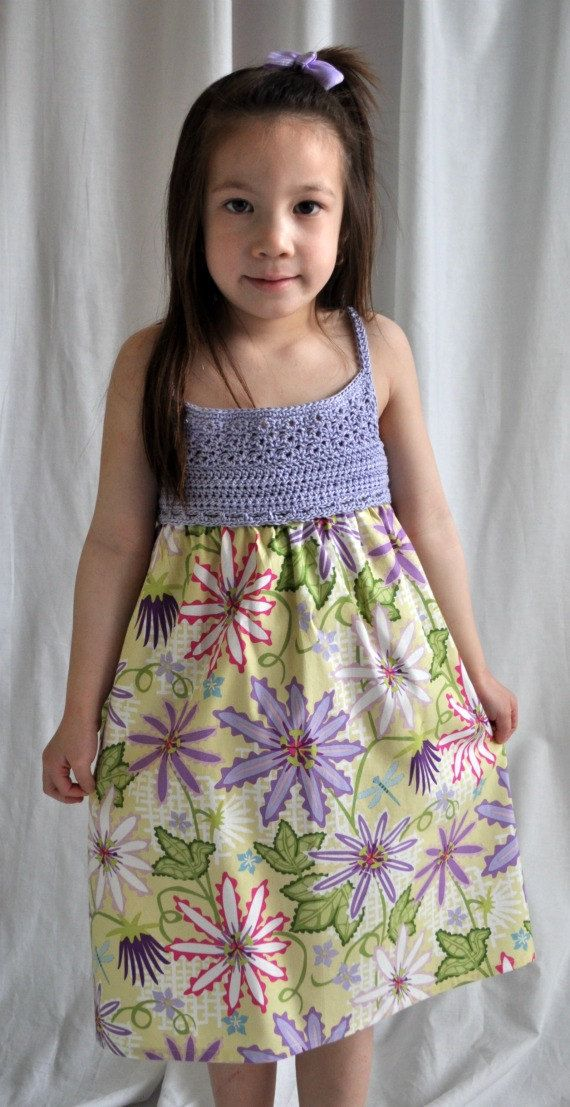 Girl's Floral Sundress with Lavender Crochet Bib Top - Size 4 - 5  yr old