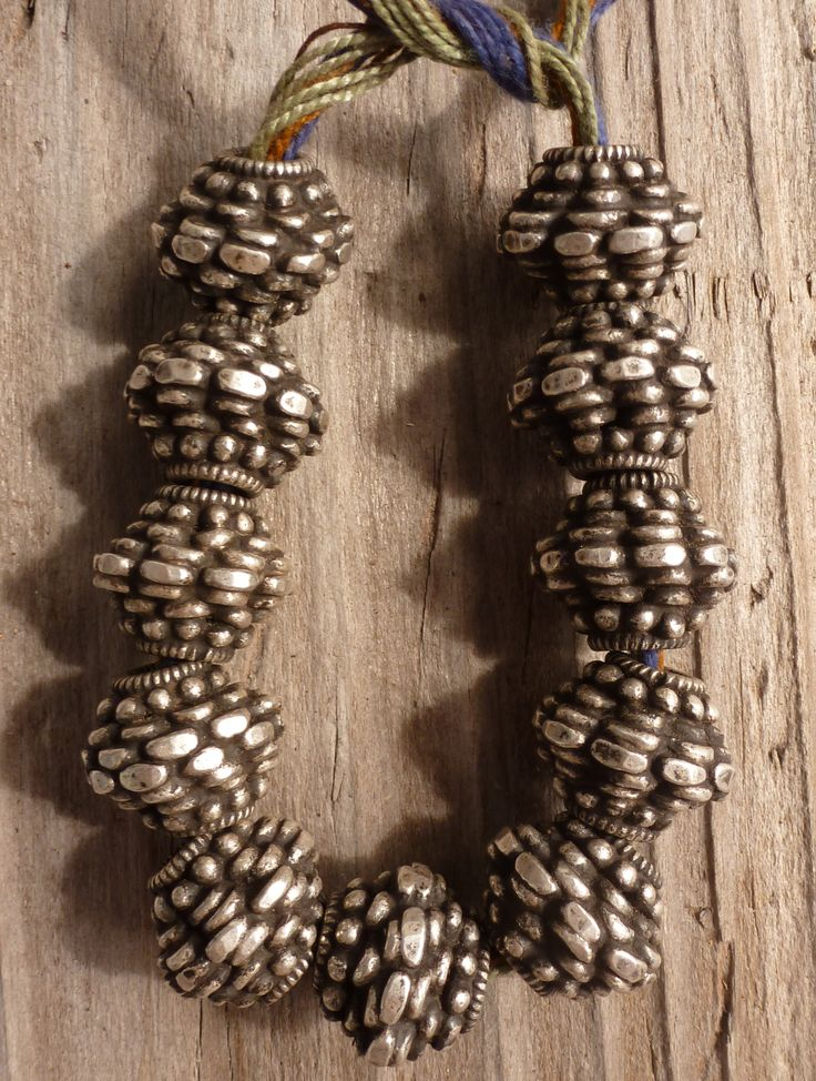 Antique large solid silver beads from Orissa, India . Lovely age patina on these old heirloom beads ~ from Balthazara on Ebay