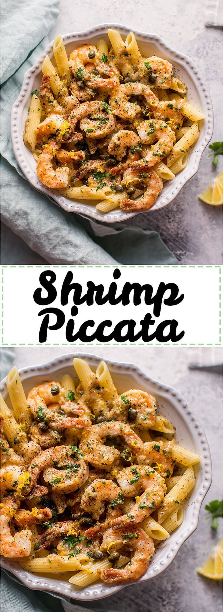 This quick and easy shrimp piccata recipe is ready in under half an hour. Succulent shrimp are cooked in a lemon-butter-caper sauce and served over penne.