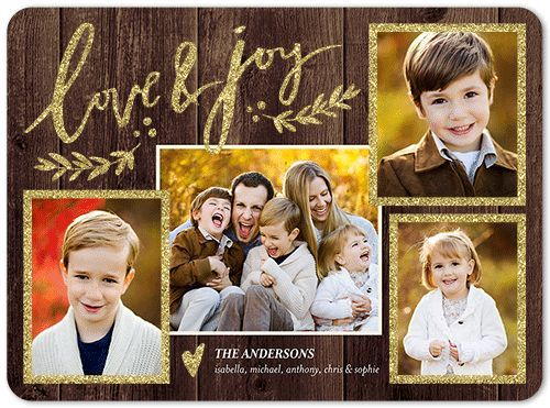 Vivid Love and Joy Holiday Card, Rounded Corners, Brown