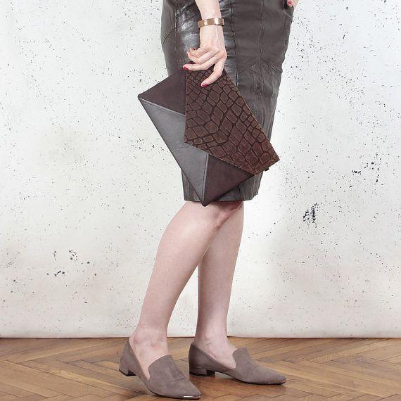 Bolso clutch sobres carta cocodrilo marrón vegano imitación cuero Gamuza sintética monedero bolso correa bolsillo relampagado de Dama de honor de boda noche