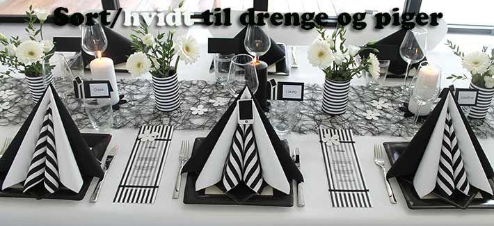 sort hvidt borddækning