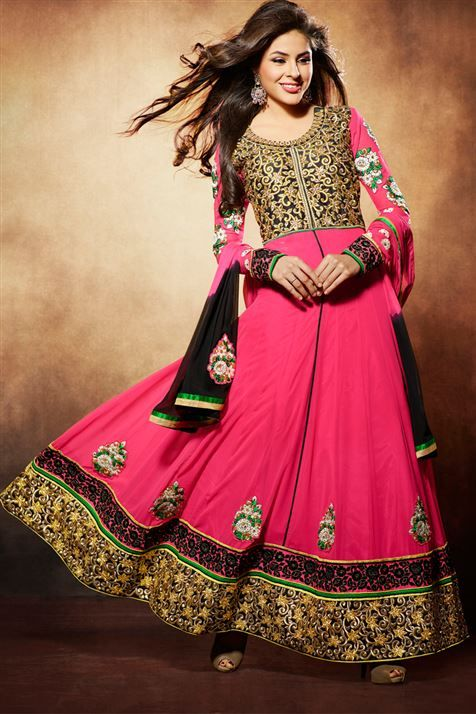 Elegant Deep Pink Georgette Embroidered Floor Touch Anarkali Dress