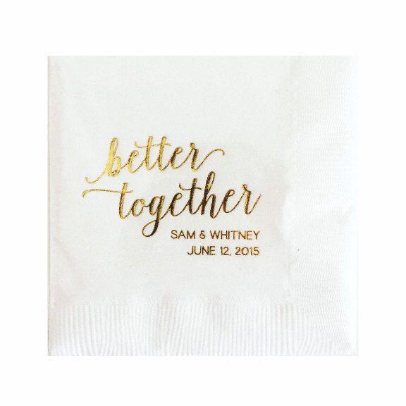 Custom Napkins - Gold Foil Napkins - Wedding Napkins by TheYellowNote on Etsy https://www.etsy.com/listing/231588424/custom-napkins-gold-foil-napkins-wedding