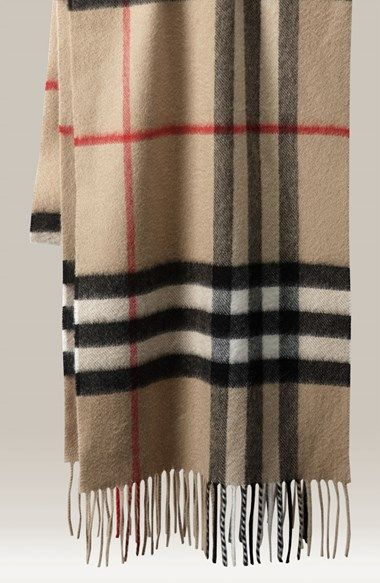 Burberry Giant Check Fringed Cashmere Muffler | Nordstrom