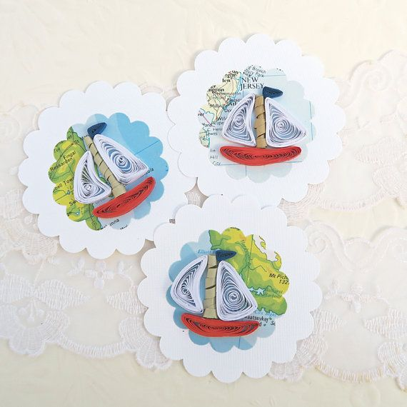 Sailing Boat Tags Paper Quilled Nautical Boat by EnchantedQuilling
