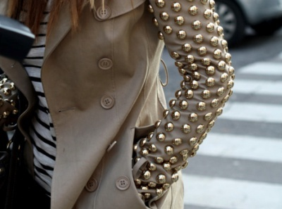 Studs, studs, studs…: Spikes, Fashion Details, Studs Jackets, Burberry Trench, Sleeve, Leather Jackets, Stripes, Trench Coats, Gold Studs